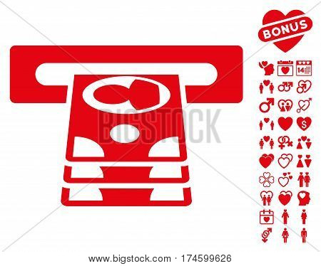 Cashpoint icon with bonus decoration images. Vector illustration style is flat iconic symbols on white background.