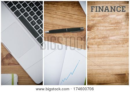 finance, pc on wooden desk with blank white book