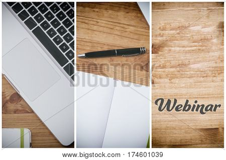 webinar, pc on wooden desk with blank white book