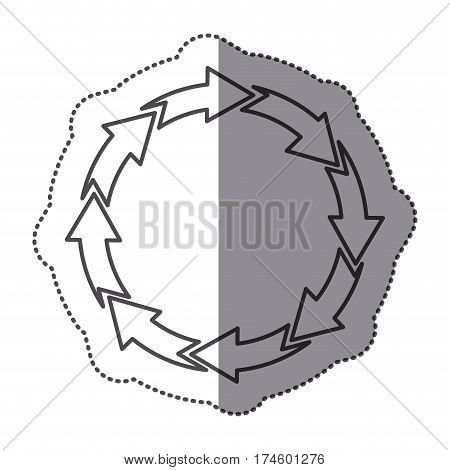 sticker silhouette set circular arrow icon vector illustration