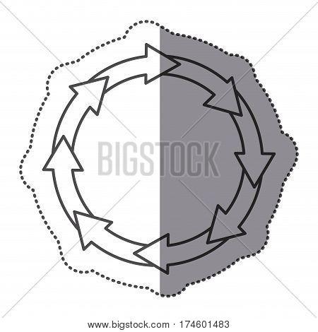 sticker silhouette set collection circular arrow icon vector illustration