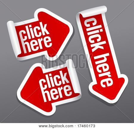 Click here stickers set.