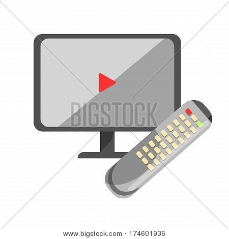 TV or computer screen with play sign and remote isolated. CCTV concept. Closed-circuit television or video surveillance, videocamera transmit signal to specific place on monitor, vector illustration