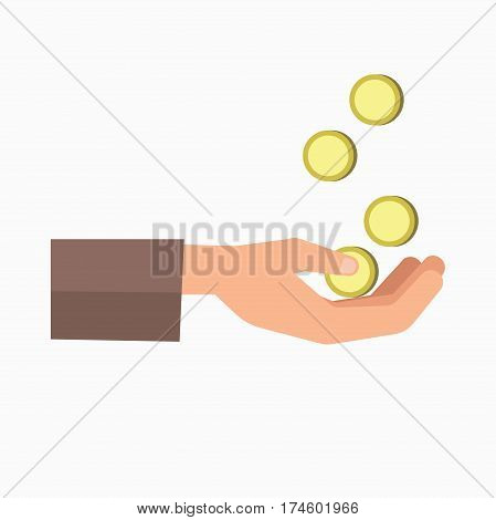 Outstretched hand and falling coins isolated on white background. Symbol of poverty and hunger. Vector illustration logo for charity organisations helping poor people, giving donations concept