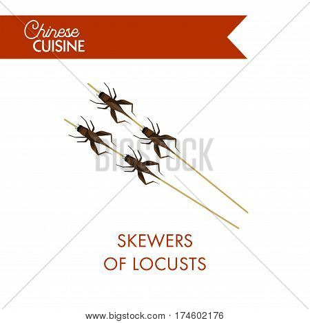 Skewers of locusts on sticks isolated on white background. Exotic oriental meal with fried insects grasshoppers. Vector ilustration of chineese barbeque with unusual food for restaurant menu banner