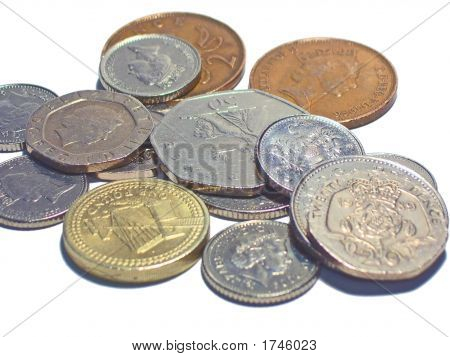 Loose Change On White Background