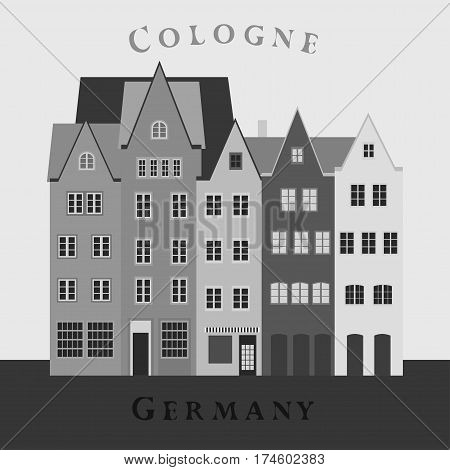Old houses in Old Town, Cologne, Germany. Monochome Vector illustration
