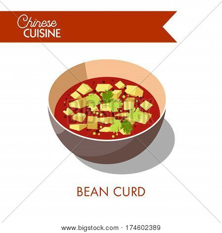 Bean curd in a bowl isolated on white. Food made by coagulating soy milk and pressing resulting curds into soft white blocks. Soup with tofu cheese realistic vector illustration in flat design
