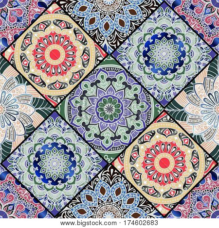 Colorful floral seamless pattern from different rhombus with mandala in patchwork boho chic style in portuguese and moroccan motif