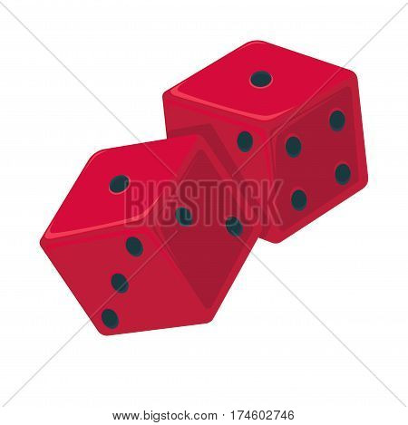 Red dice with black dots isolated on white. Vector illustration of devil bones, ivories in flat design. Small throwable objects with multiple resting positions, used for generating random numbers