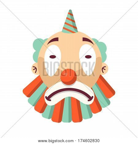 Cartoon unhappy clown face isolated on white. Sad comedian head, upset circus character carnival mask. Emotion of sadness on comic face. Vector illustration of sorrow comic man with cap in flat style