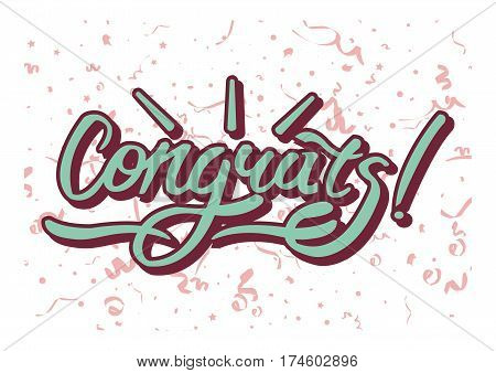 Congrats inscription on background with festive elements. Congratulations text to birthday, party, wedding, holiday. Lettering concept in flat style vector illustration greeting card design