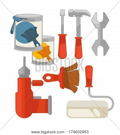 Building tool vector set isolated on white. Poster of two paint cans, red drill, hammer and screwdriver with handles, paint roller and other equipments for renovation and repair in flat design