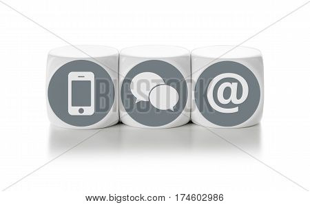 Letter Dice On A White Background - Contact Us