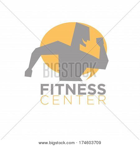 Fitness center logo design of man silhouette running with open mouth with sun icon on background isolated on white. Vector illustration of supportive athletic male character jogging in flat style