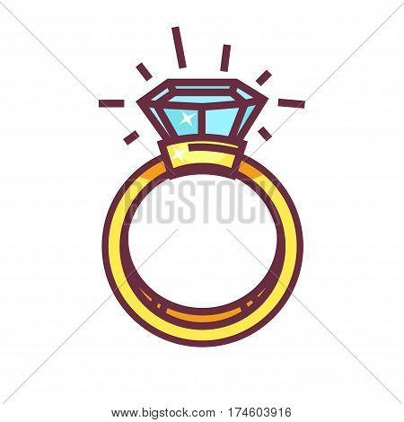 Luxury ring with big blue gemstone isolated on white background. Fashionable jewelry item. Vector illustration of stylish present with precious stone, bridal accessory sign, elegant treasure icon