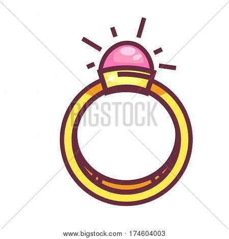 Engagement ring with big round gemstone isolated on white background. Fashionable jewelry item. Vector illustration of stylish present with precious stone, bridal accessory sign, elegant treasure icon