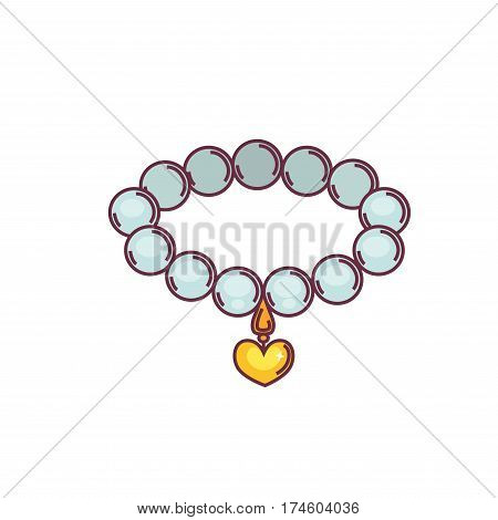 Necklace of pearls with gold pendant isolated on white background. Expensive chain made of precious stones with golden heart. Vector illustration of fashion jewelry icon in flat style cartoon design
