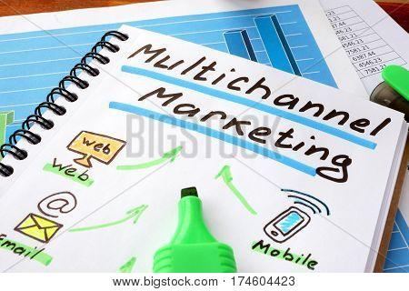 Multichannel marketing written in a notebook and marker.