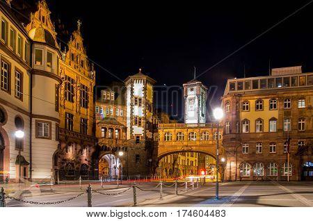 Old town (Altstadt) in Frankfurt am Main. Old architecture in Frankfurt Roemer at night.