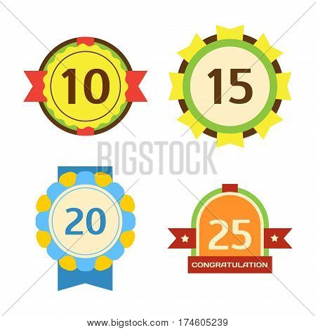 Birthday badge banner design flat set celebration emblem anniversary card date and paper sticker invitation with number day for typography vector illustration symbol. Holiday birth date label.