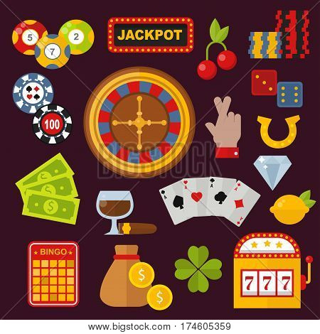 Casino game icons poker gambler symbols and casino blackjack cards gambler money winning icons with roulette gambler joker slot machine concept