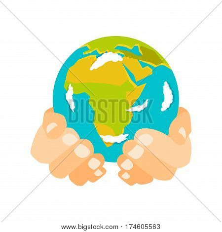 Globe earth in hand icon planet map symbol vector illustration. Education toy icon and graphic sphere. Geography element globe icon tool. Graphic sphere pictogram application.