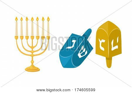 Golden jew menorah with candles hebrew religion tradition decoration flame and candelabrum hanukkah orthodox judaism holiday vector illustration. Chanukah shabbat festival gold object.