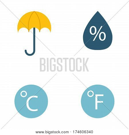 Weather icons vector illustration. Season thermometer design thunder temperature sign. Meteorology sky or sun nature element for web application.