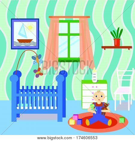 Baby room interior with boy playing toys. Flat design. Colorful baby room with many object and toys