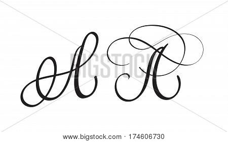 art calligraphy letter A with flourish of vintage decorative whorls. Vector illustration EPS10
