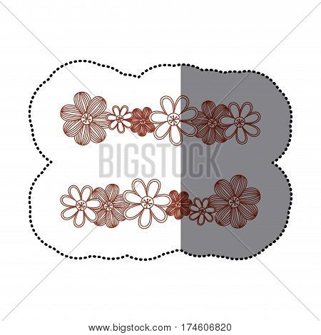 sticker minimalistic background with flowers in row both sides vector illustration
