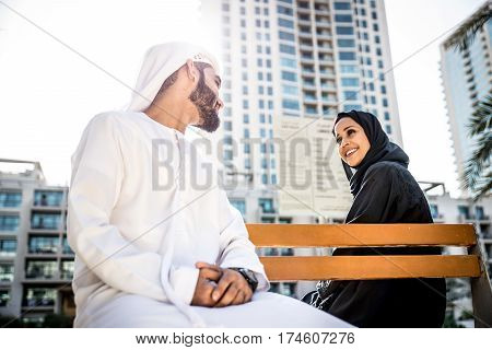 Arabian couple portrait in Dubai marina area