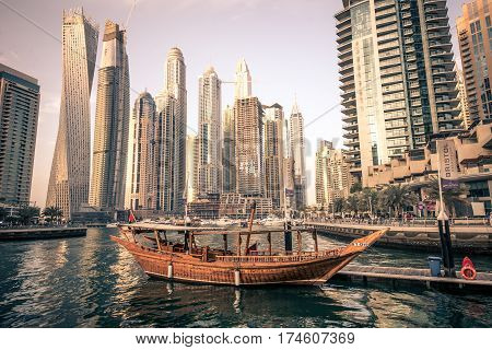 Dubai Marina. february 9th 2017. Dubai marina skyline. Dubai Marina is a district in Dubai United Arab Emirates. Dubai Marina is an artificial canal city