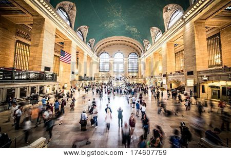 NEW YORK - USA SEPTEMBER 17 2016: Grand Central Terminal StationNew York. Grand Central Terminal is the world's number six most visited tourist attraction