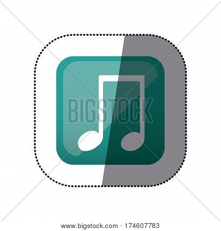 sticker color square with musical note vector illustration