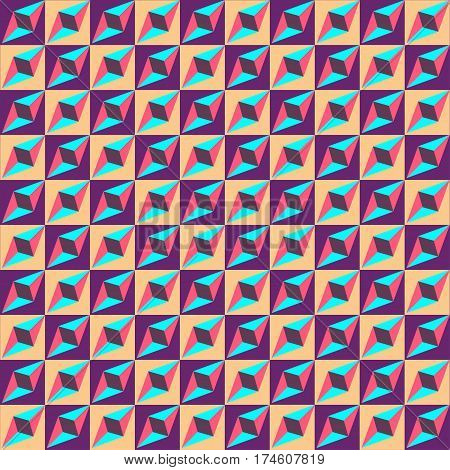 Geometric Seamless Pattern, Optical Illusion, Vector Background. Ornament From Purple, Yellow, Blue