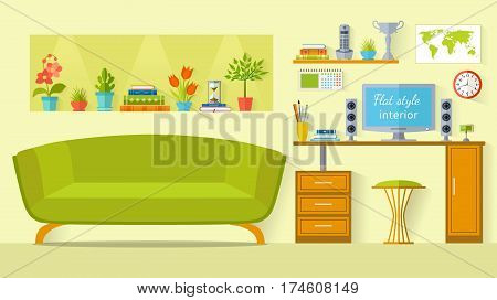 The interior design of the room to study. Children's room in a flat style. Interior with furniture a desk houseplants and the computer. Vector illustration. Template office parlor or teen room.