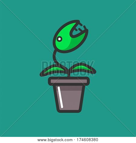 Venus flytrap plant in a flowerpot isolated on green background. Vector illustration in flat design of decorative element for home windows. Carnivorous type of plants isolated in grey flower pot