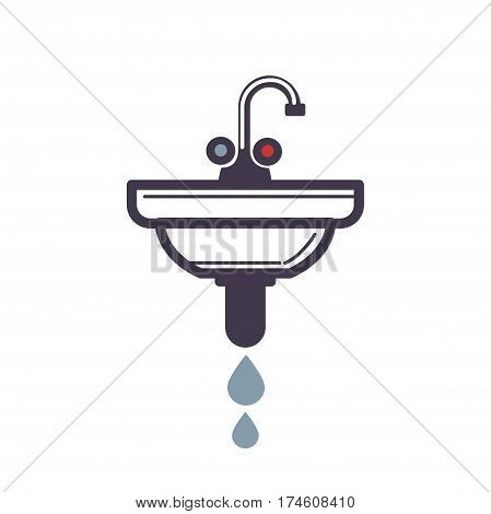 Washbasin with damaged pipe spraying water isolated icon on white. Vector illustration in flat design of bathroom washstand with one tap, two handles and sink. Plumbing concept colorful sign