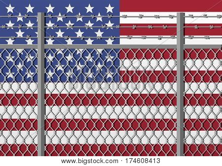Metal fence with barbed wire on a USA flag. Separation concept borders protection. Template for march against anti-immigration policies. Social issues on refugees or illegal immigrants.