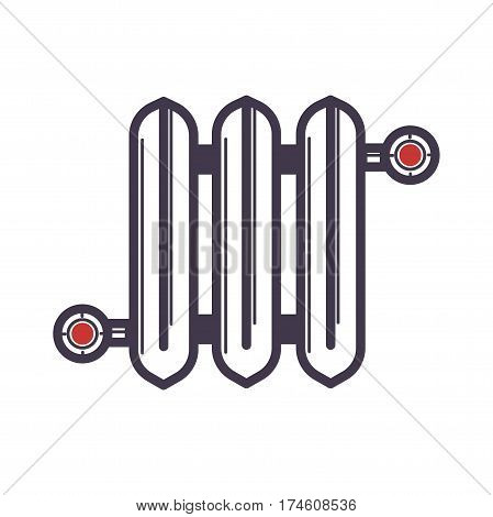 Radiator of three sections with two red valves on white background. Vector illustration of radiator flat icon for web design. Equipment for heating room. Flat style trend logo graphic theme.