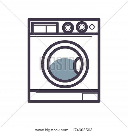 Washing machine front view close-up isolated on white. Vector illustration made in outline flat style for web sites, bathroom equipment shops or interior designs. Pixel perfect icons of washer.