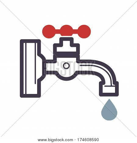 Water dripping tap with water drop flat design isolated on white background. Vector illustration of hand drawn faucet with drop icon for infographic, website or app. Cartoon style graphic theme.