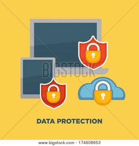 Data protection folder lock on internet security isolated on yellow. Vector illustration of safe confidential information on laptop and tablet. Modern flat design concept for web banners, mobile app.