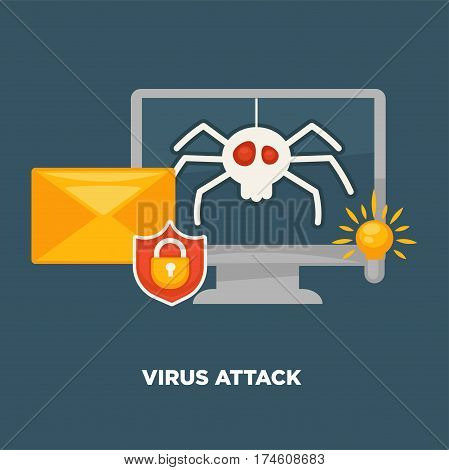 Virus attack on computer in cartoon flat style isolated on blue. Vector illustration of spider virus infecting notebook, hacking protection and opening mail service. Icon for infographic, website, app