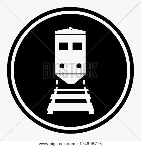 Warning sign attention train symbol black circle on white background. Vector illustration of danger railroad traffic on train railway care character. Cartoon style flat graphic design art icon.