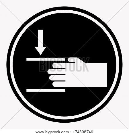 Protecting hands icon with two lines. Danger sign attention black circle flat theme. Vector illustration of warning and danger care symbol. Help hand colorless sign in frame, for various resolutions.