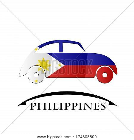car icon made from the flag of Philippines
