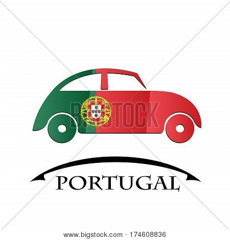 car icon made from the flag of Portugal